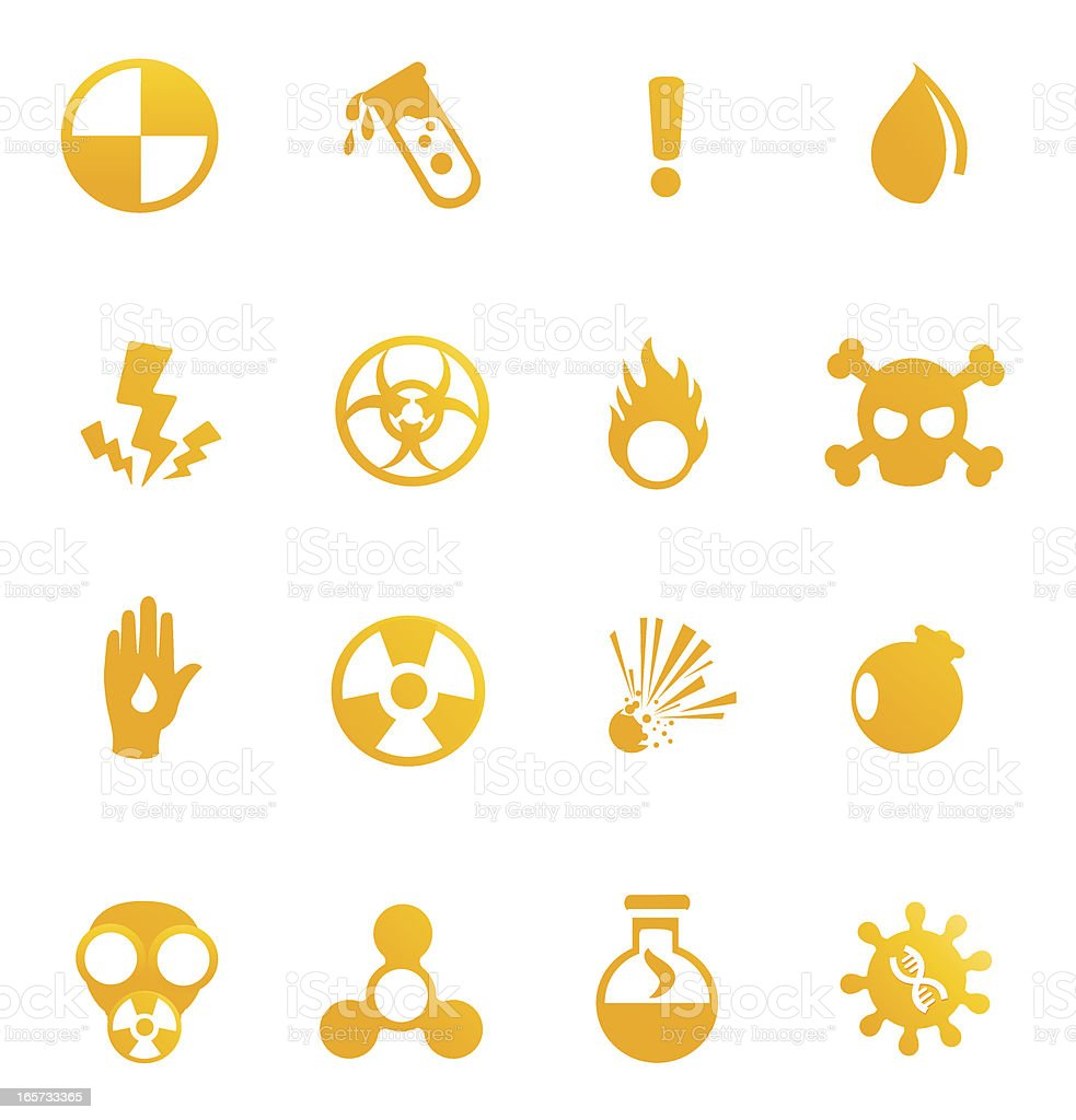 Hazardous materials icons vector art illustration