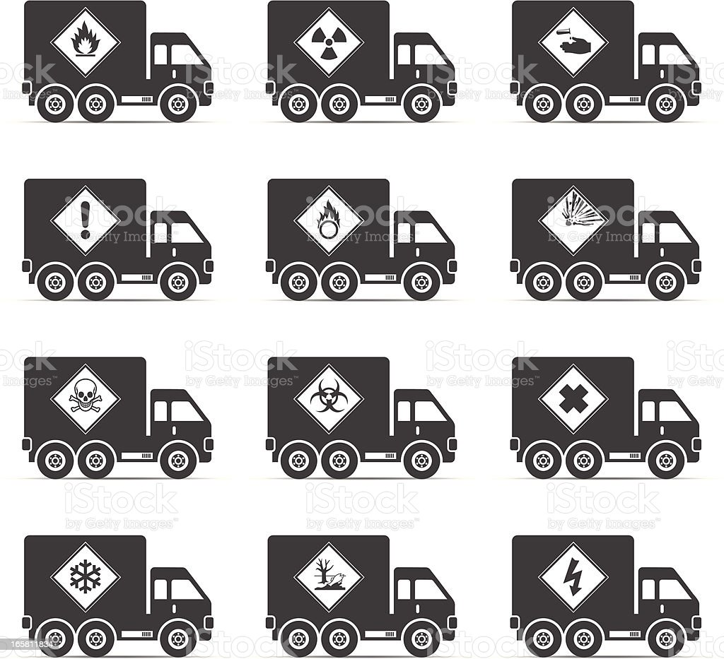 Hazardous Truck Icons royalty-free stock vector art