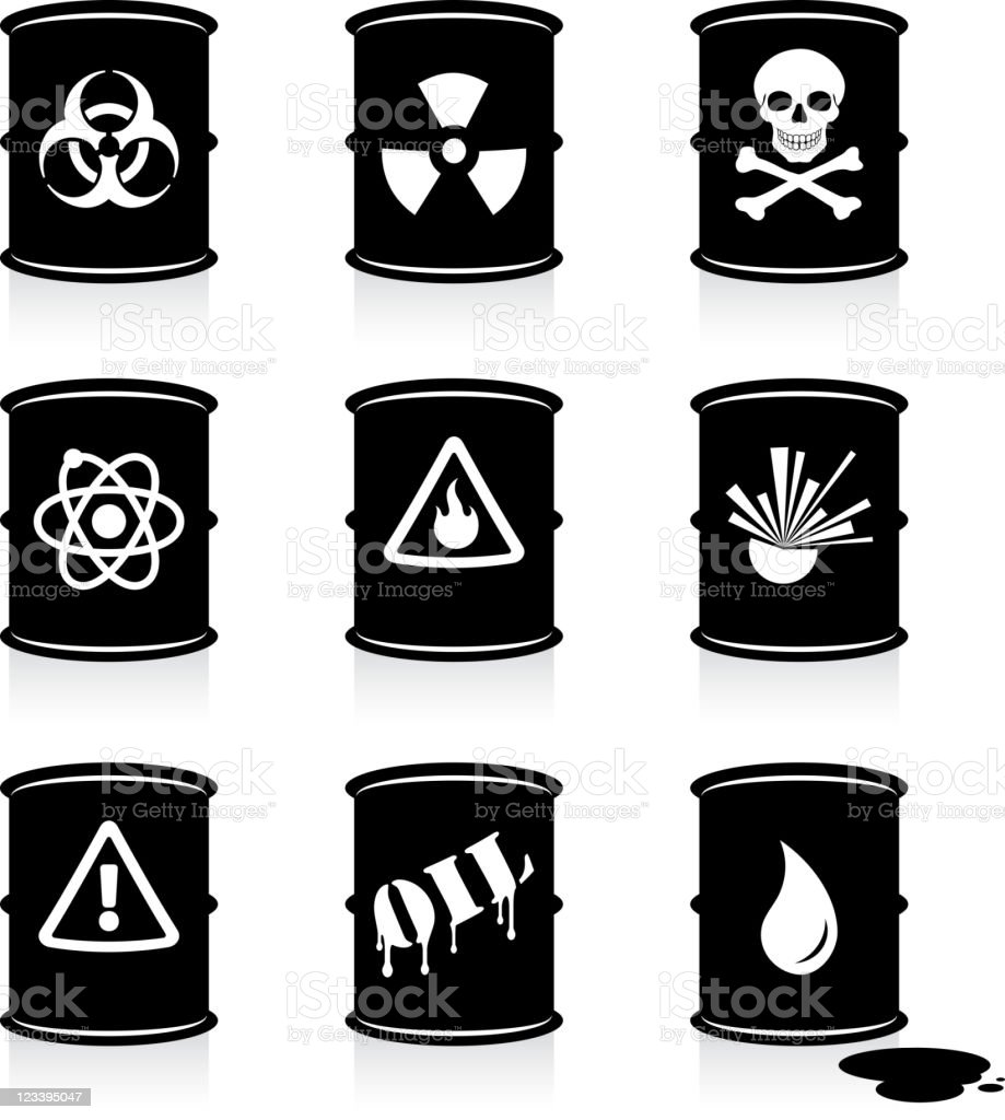 hazardous waste barrels black and white vector icon set vector art illustration