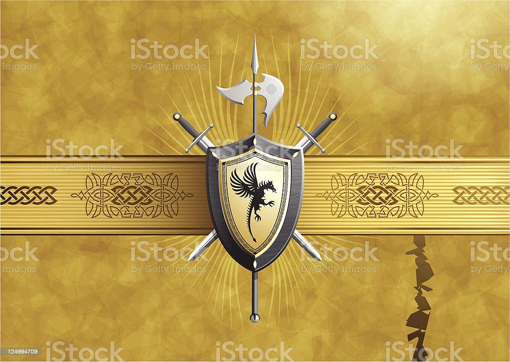 hazy coat of arms vector art illustration