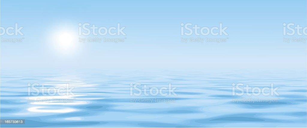 A hazy sun over bright blue water vector art illustration