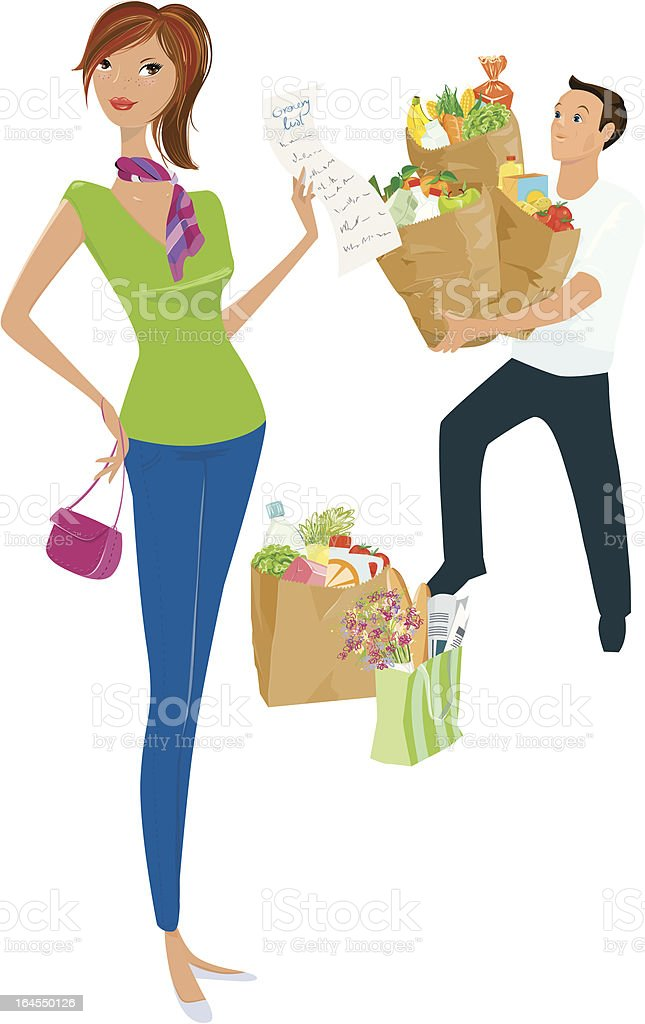 He carries all my shopping vector art illustration
