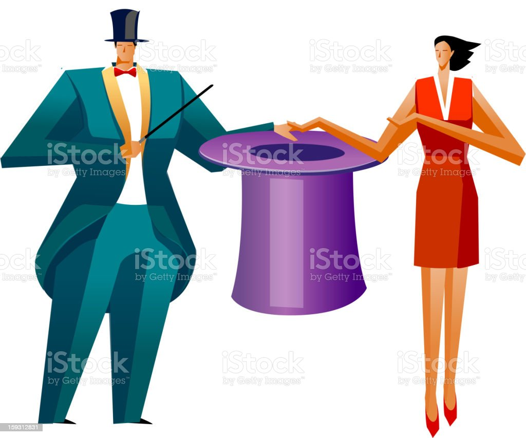 he is performing magic show royalty-free stock vector art