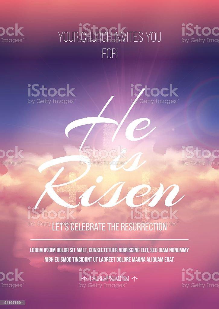 He is risen, vector Easter religious poster template. vector art illustration