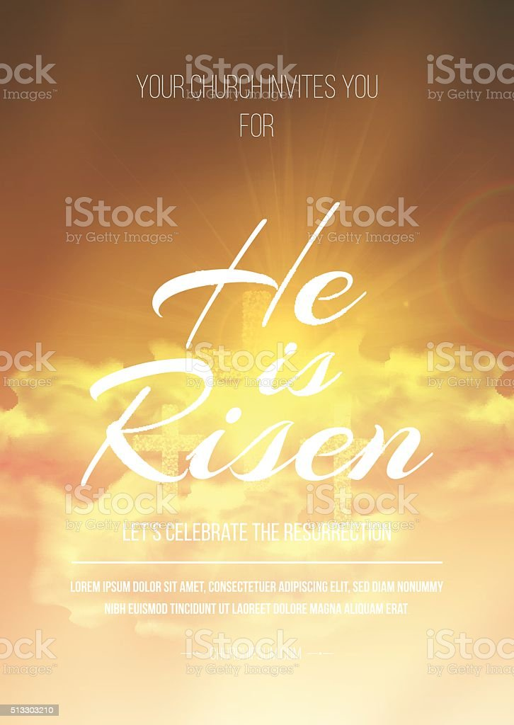 He is risen, vector Easter religious poster template vector art illustration