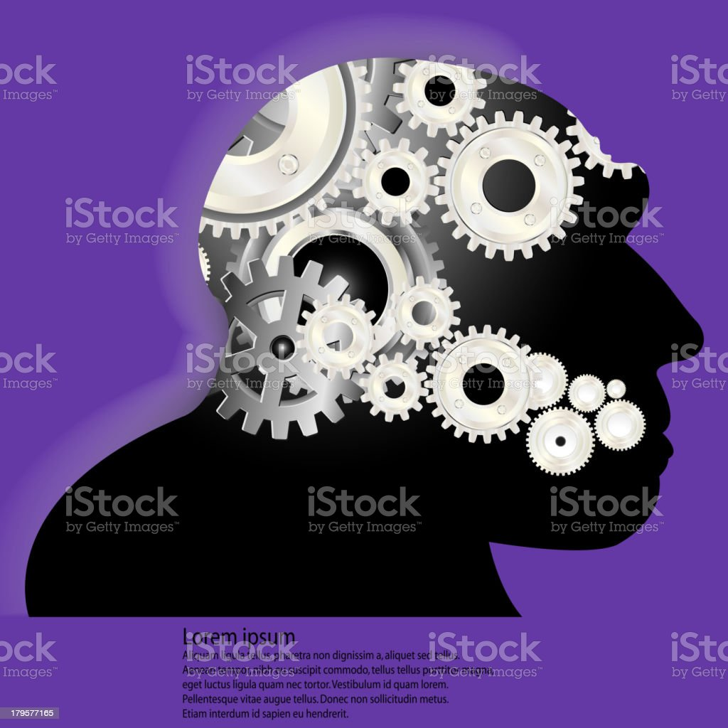 Head and brain gears in progress. royalty-free stock vector art