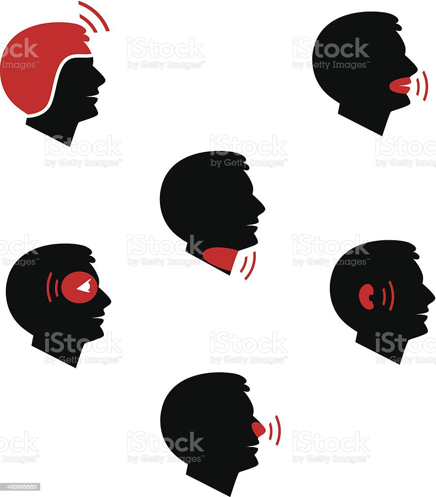 Head and facial pain as flat icons royalty-free stock vector art