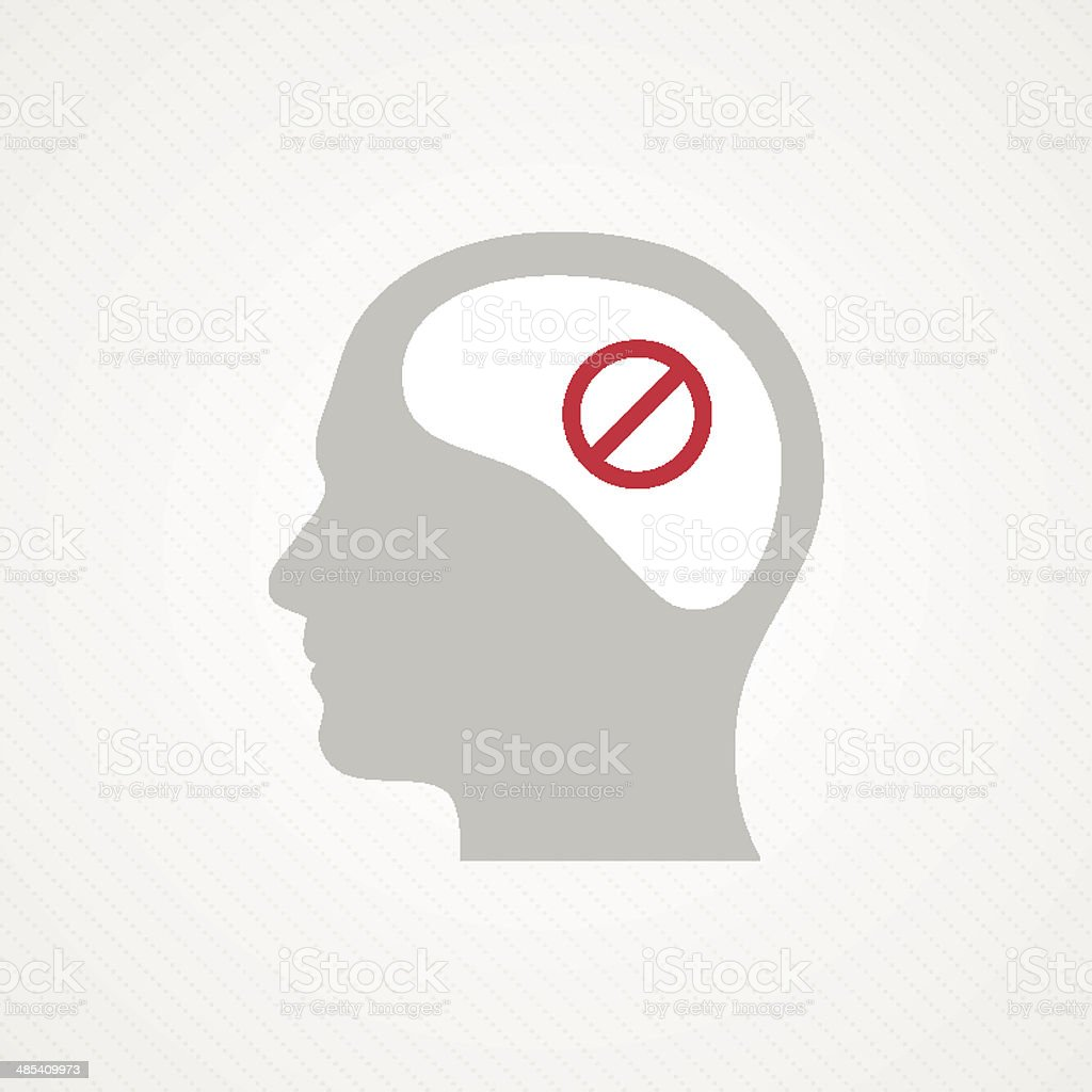 Head and forbidden icon royalty-free stock vector art