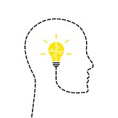 Head and lightbulb made puzzle as idea concept