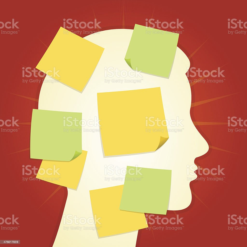 Head and paper stickers on Red vector art illustration