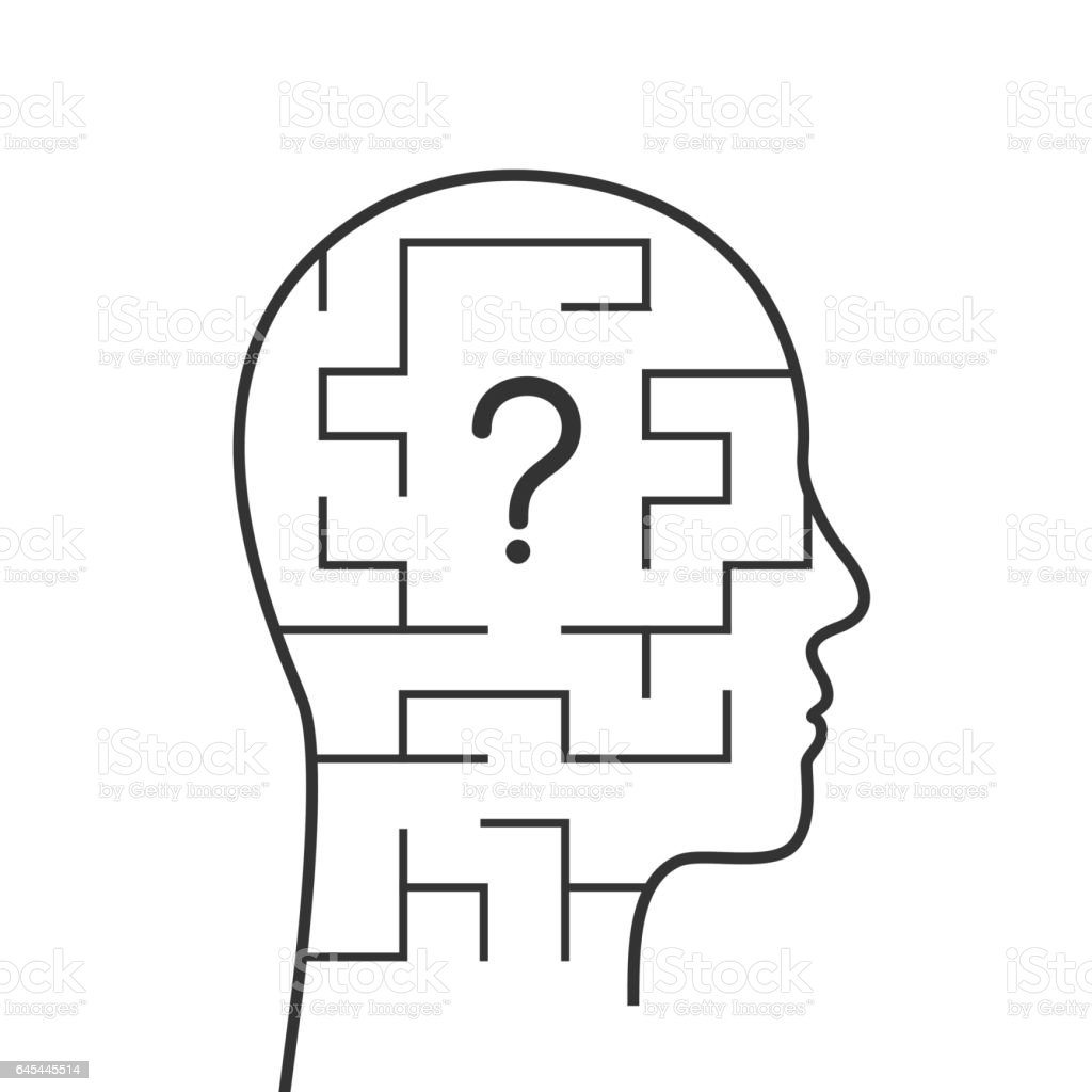 Head and question mark vector art illustration