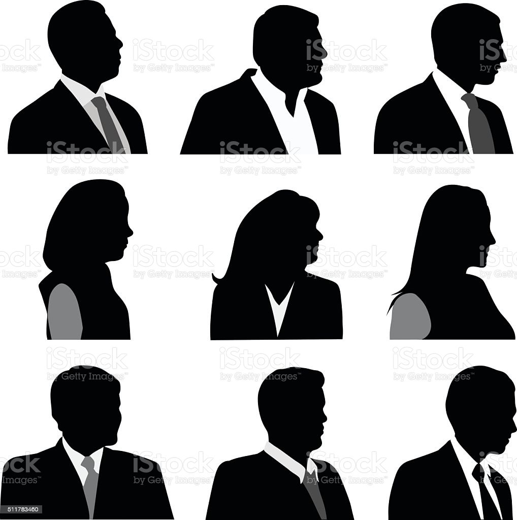 Head And Shoulders Business SIlhouettes vector art illustration