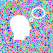 Head and Thoughts Icon on Color Circle Background Pattern
