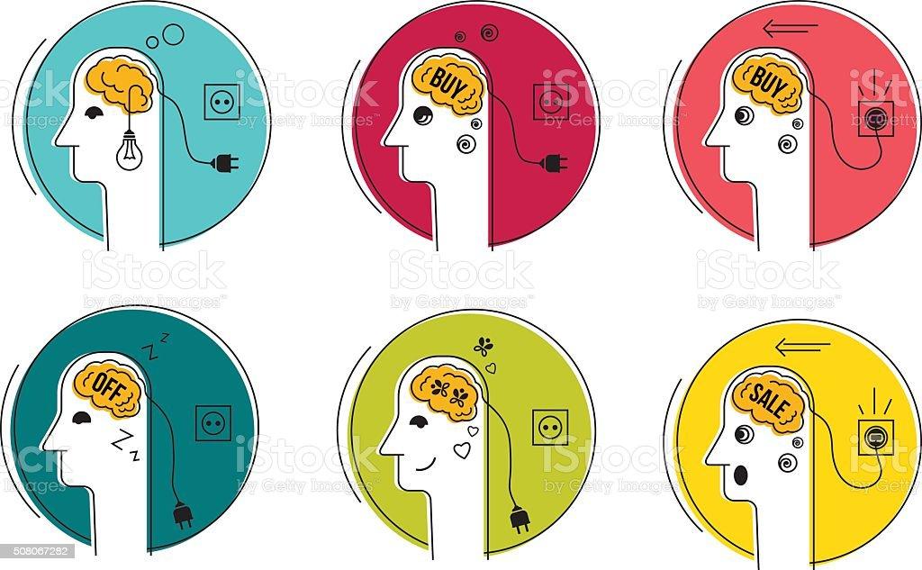 Head brain icons. vector art illustration