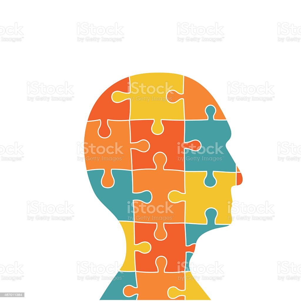 Head contains of puzzle pieces vector art illustration