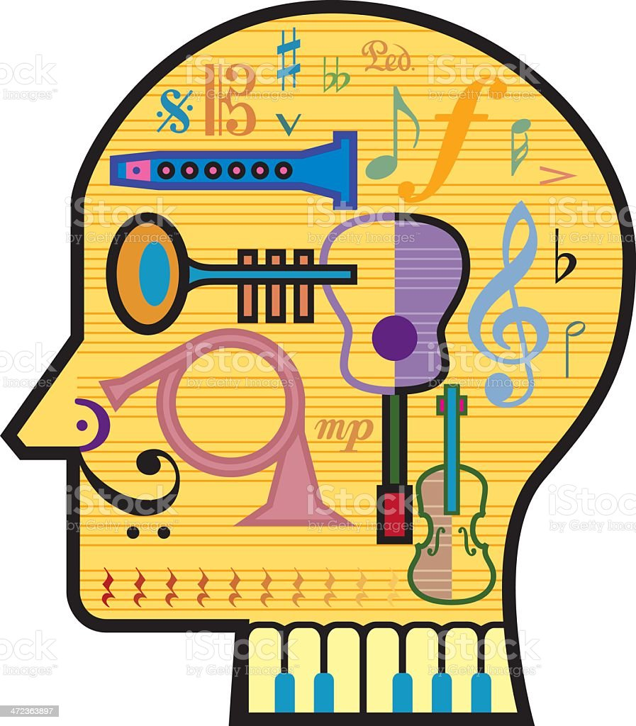 Head for Music vector art illustration