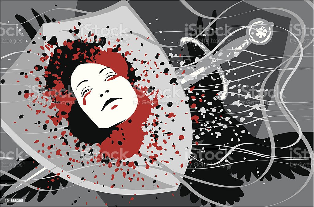 Head in blood royalty-free stock vector art