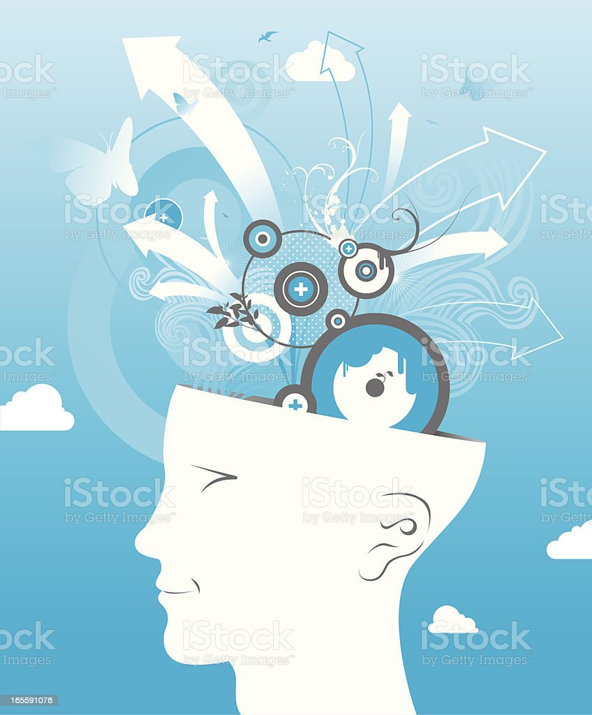 head in the clouds royalty-free stock vector art