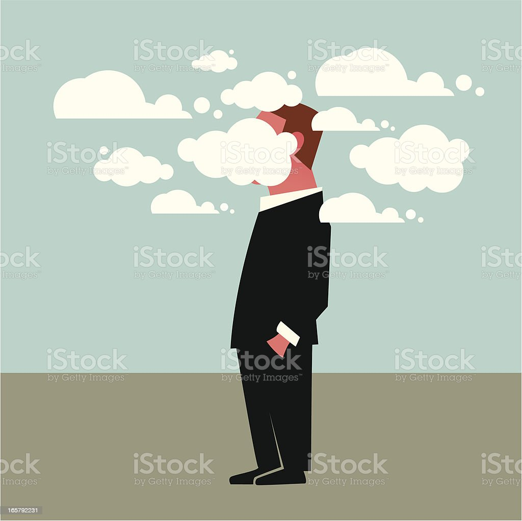 Head in the clouds vector art illustration