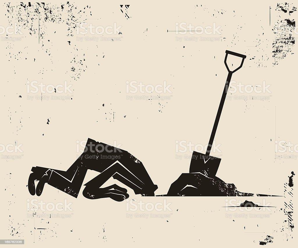 Head in the Sand vector art illustration