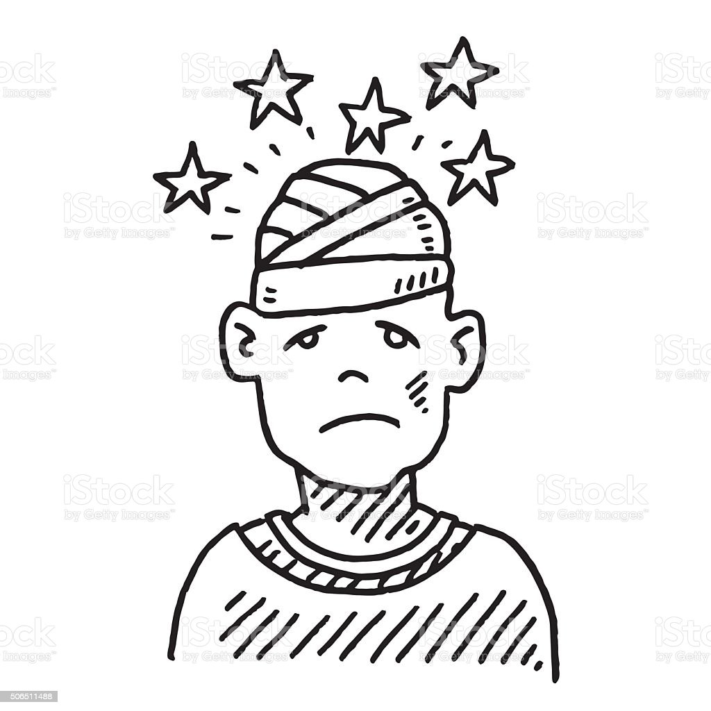 Head Injury Pain Drawing vector art illustration