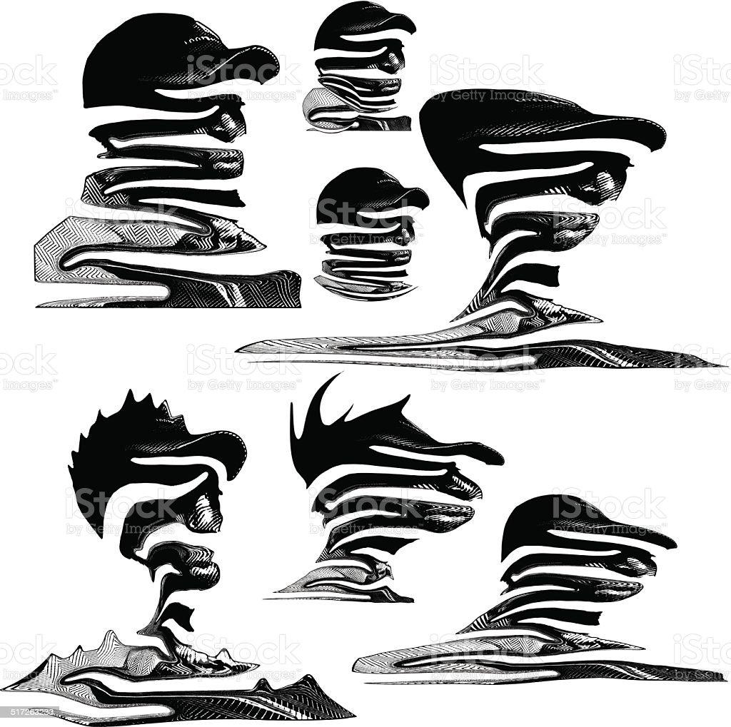 Head Landscapes vector art illustration