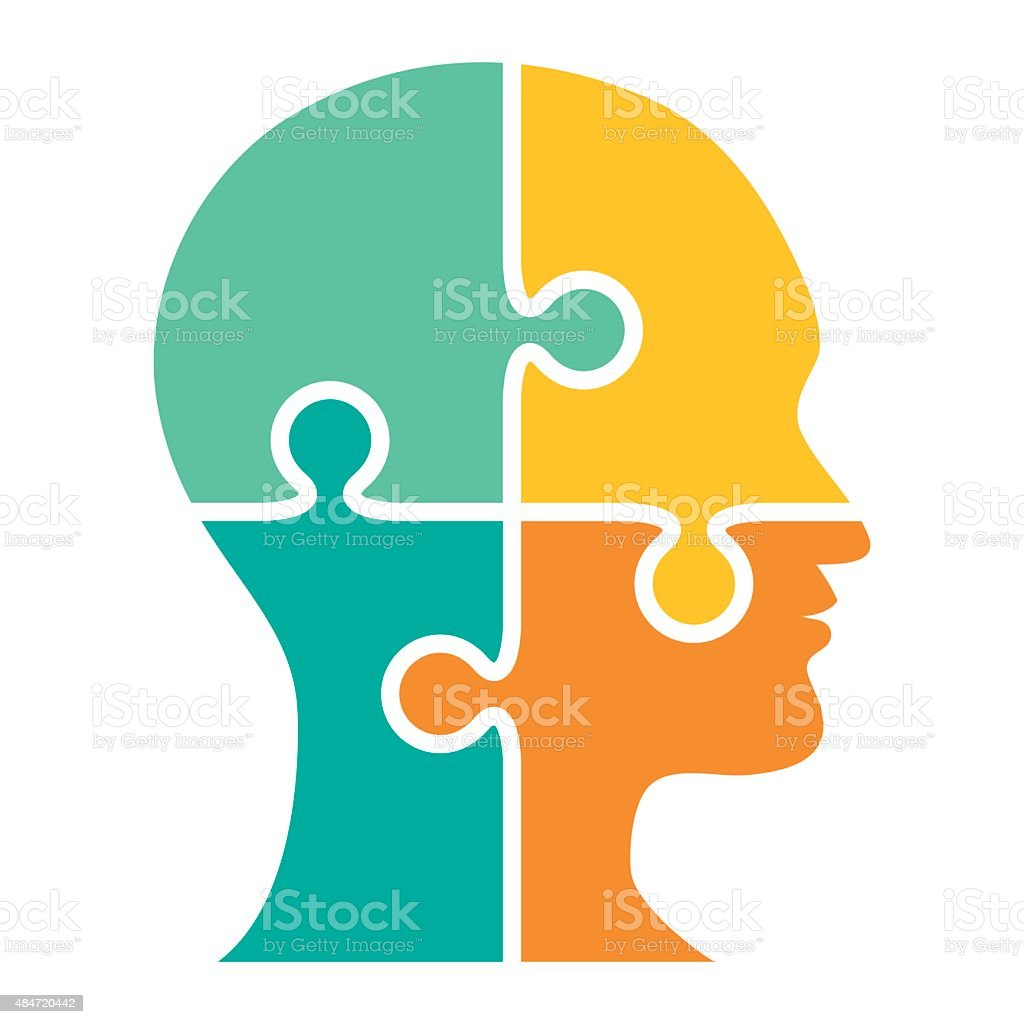 Head made of puzzle four pieces - VECTOR vector art illustration