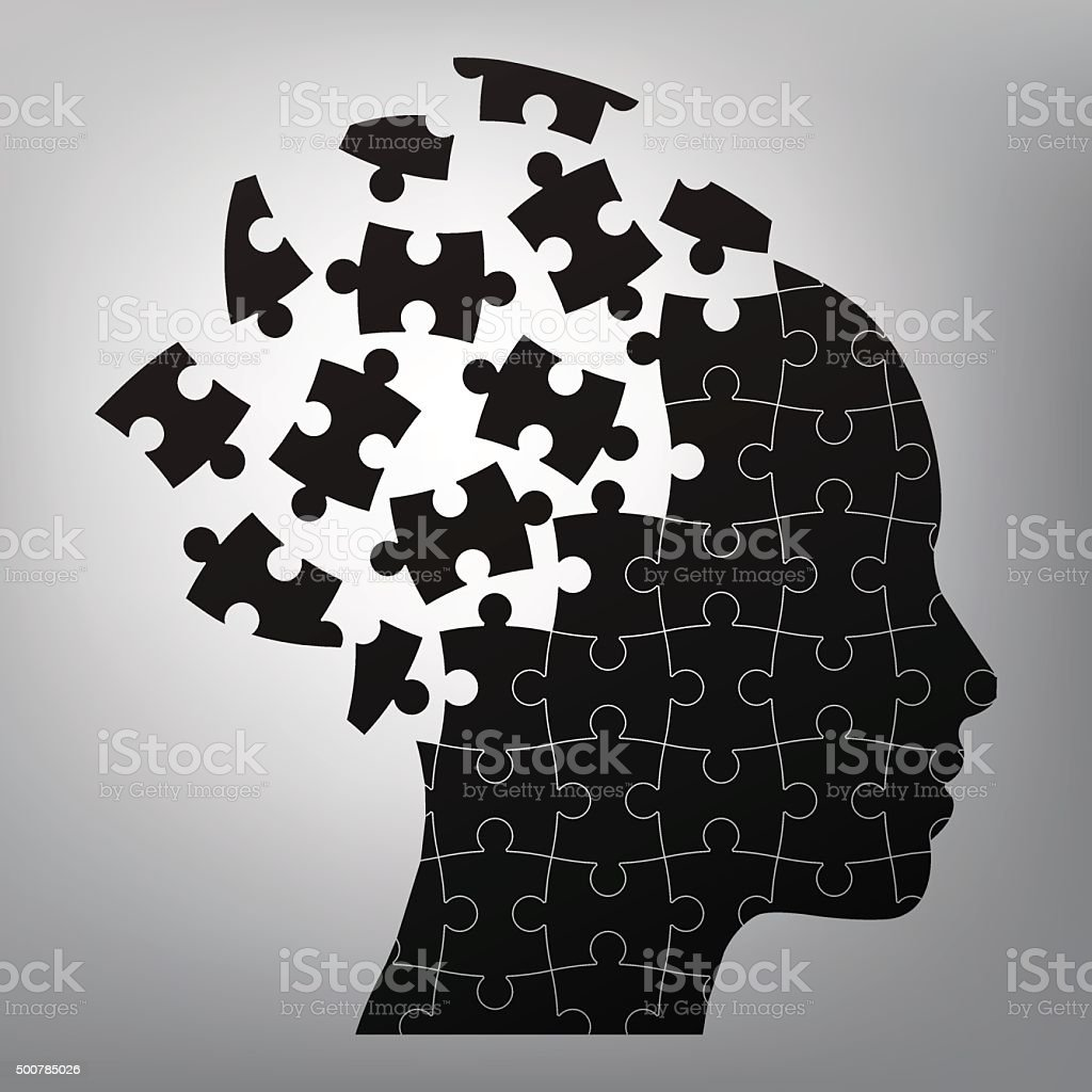 head man puzzles strategy. vector art illustration