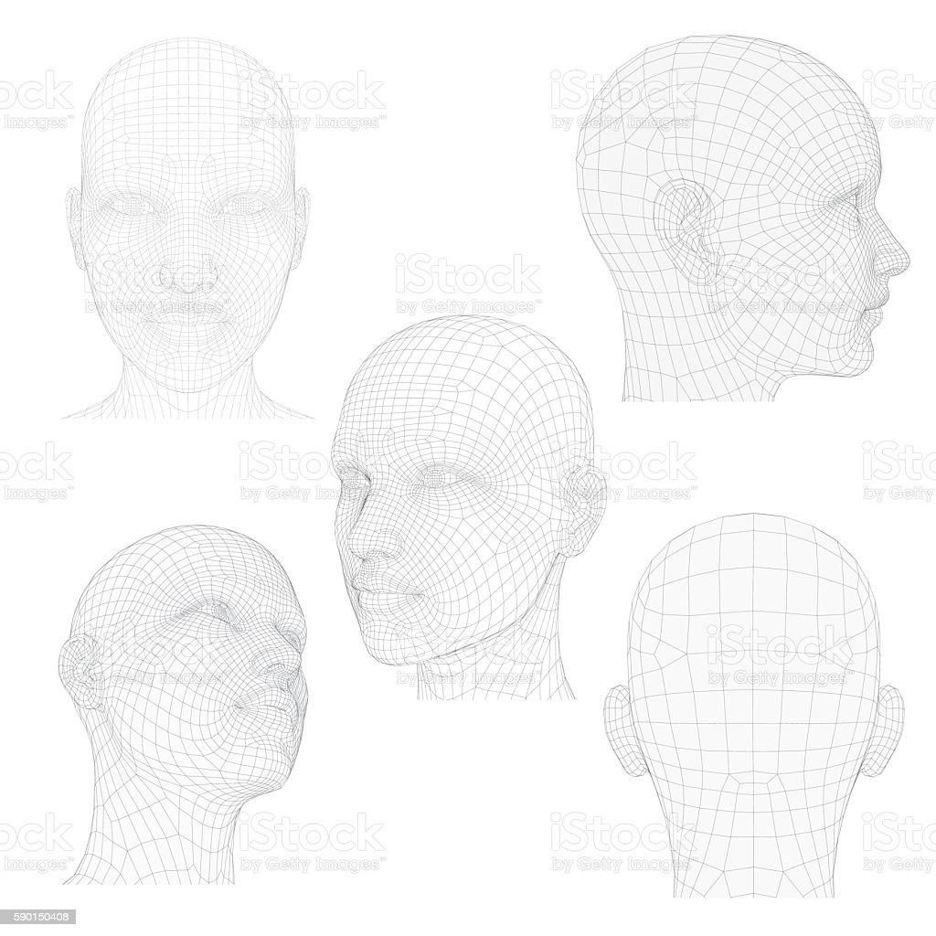Head of a Girl vector art illustration