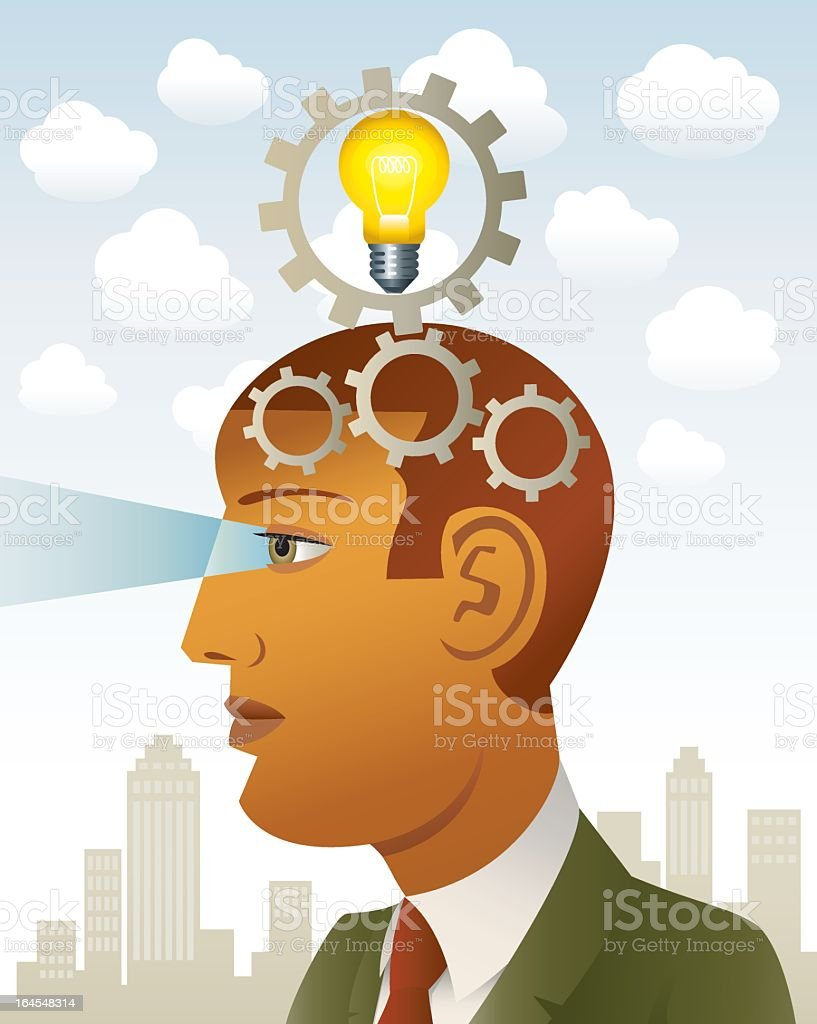 Head of a visionary businessmann royalty-free stock vector art