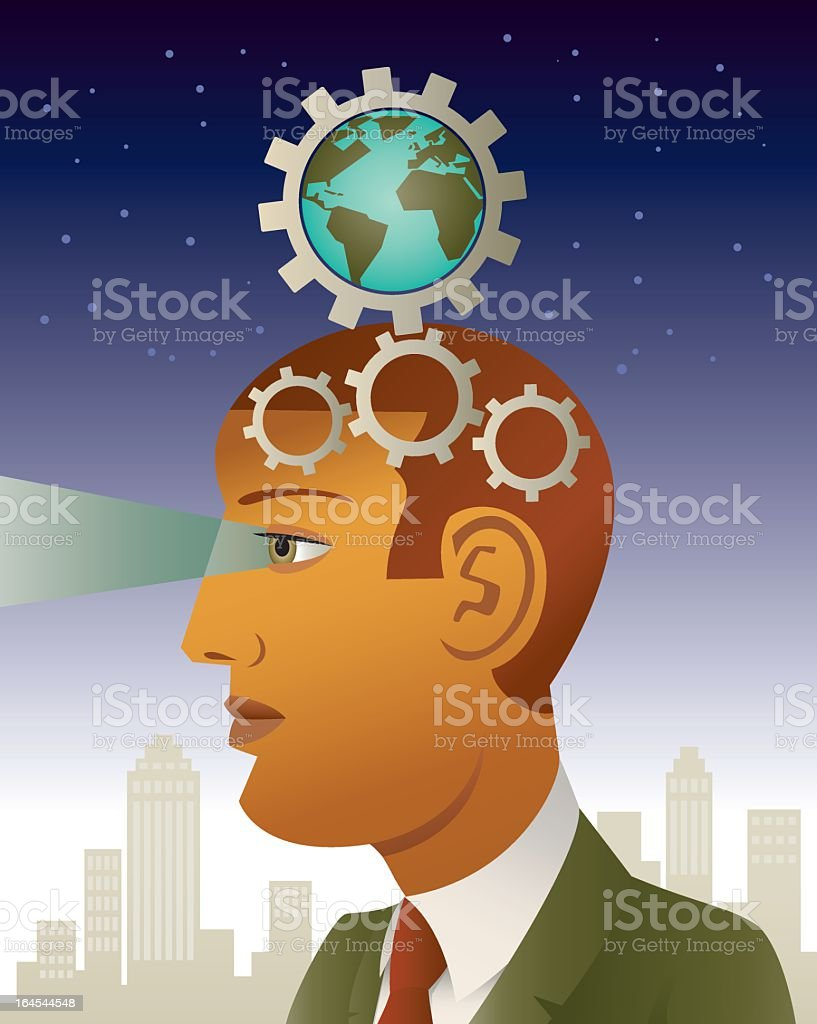 Head of a visionary businessmann with a world globe royalty-free stock vector art