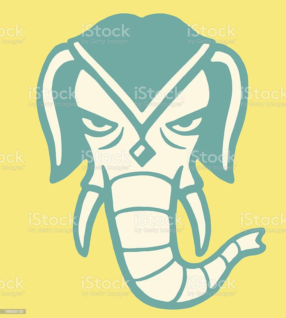 Head of an Elephant royalty-free stock vector art