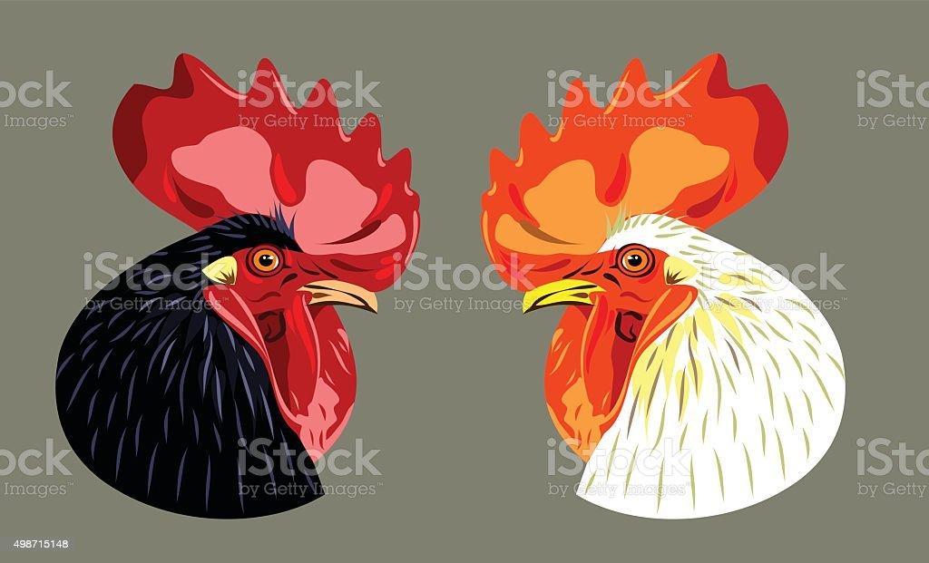 head (profile) of black and white cock vector art illustration