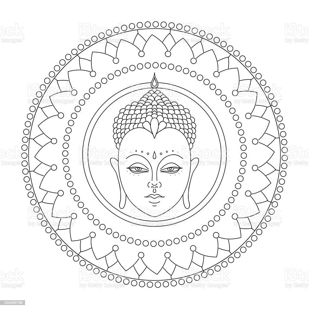 Head of Buddha in mandala. Indian, Hindu Tattoo vector art illustration