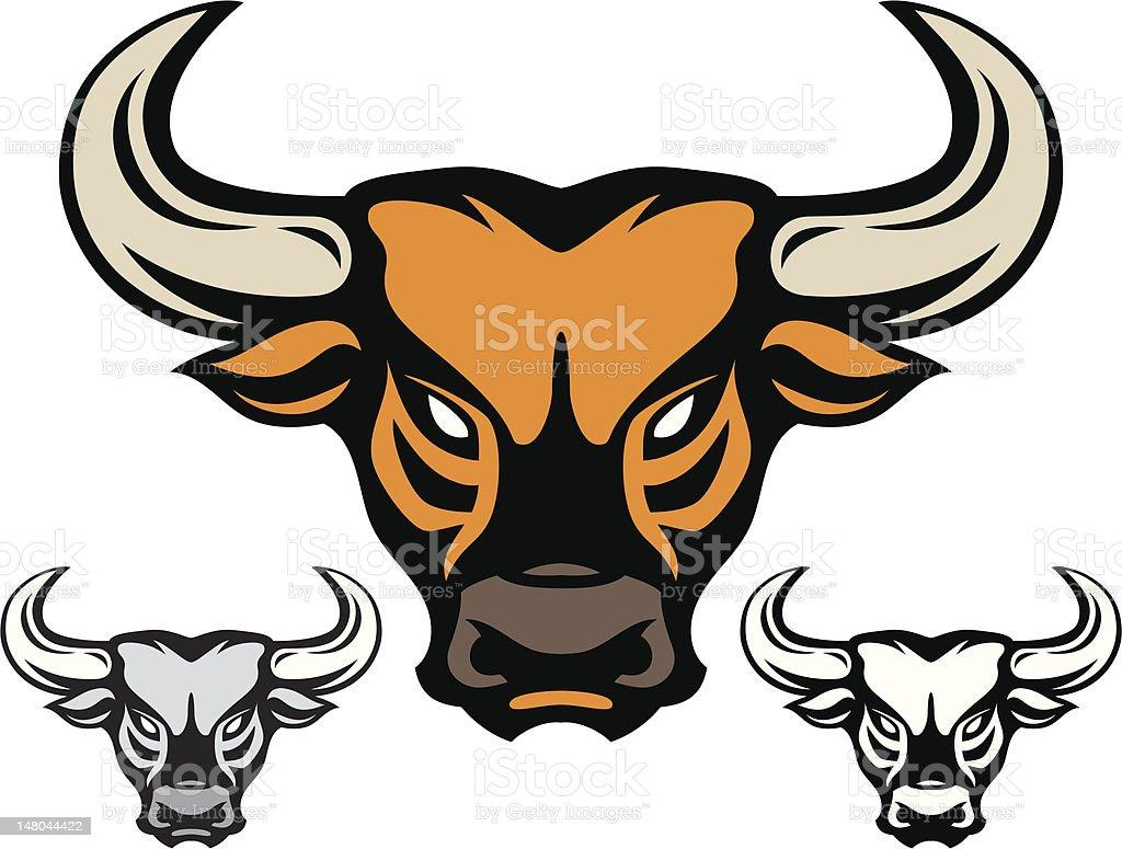 head of bull isolated on white vector art illustration