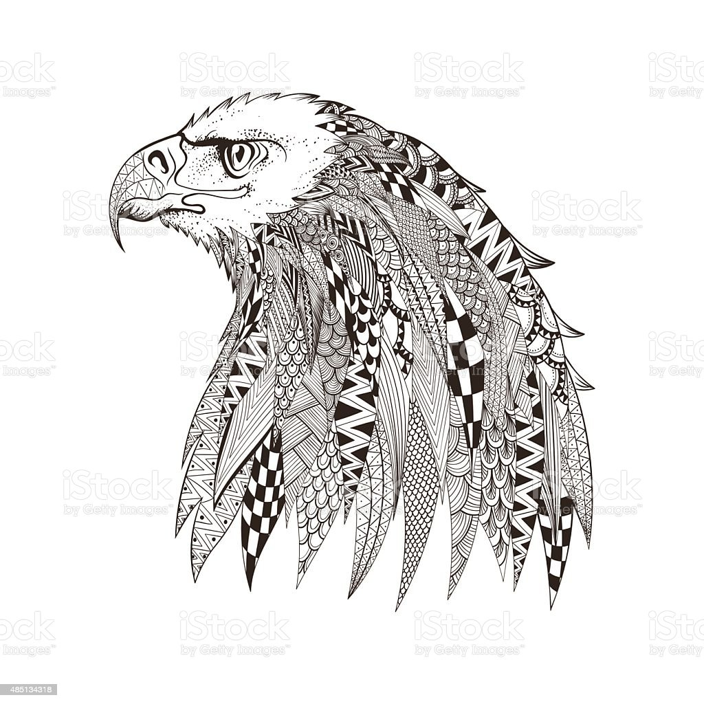 Zentangle stylized head of eagle. Hand Drawn doodle vector illus vector art illustration