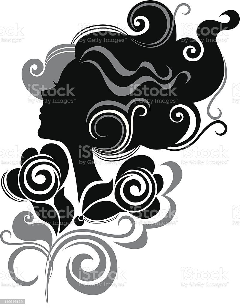 head of female in profile with flowers royalty-free stock vector art