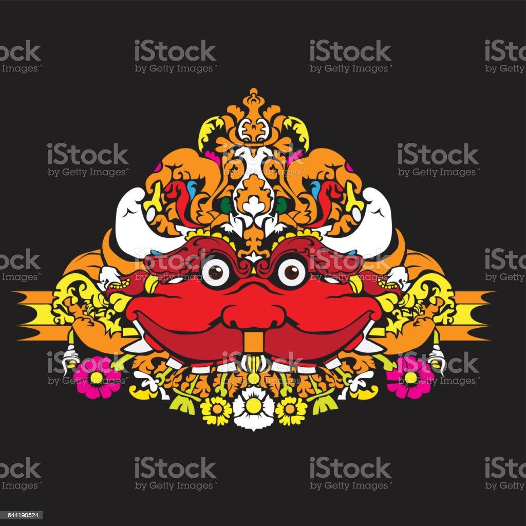 Head of Kala - Red vector art illustration