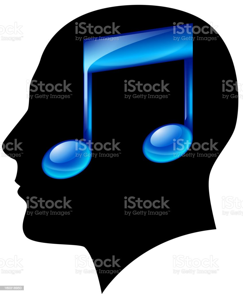 Head of man with musical note royalty-free stock vector art