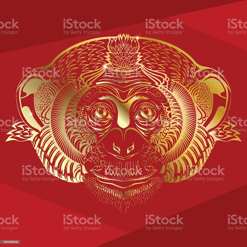 Head of monkey.Golden silhouette on a red background. vector art illustration