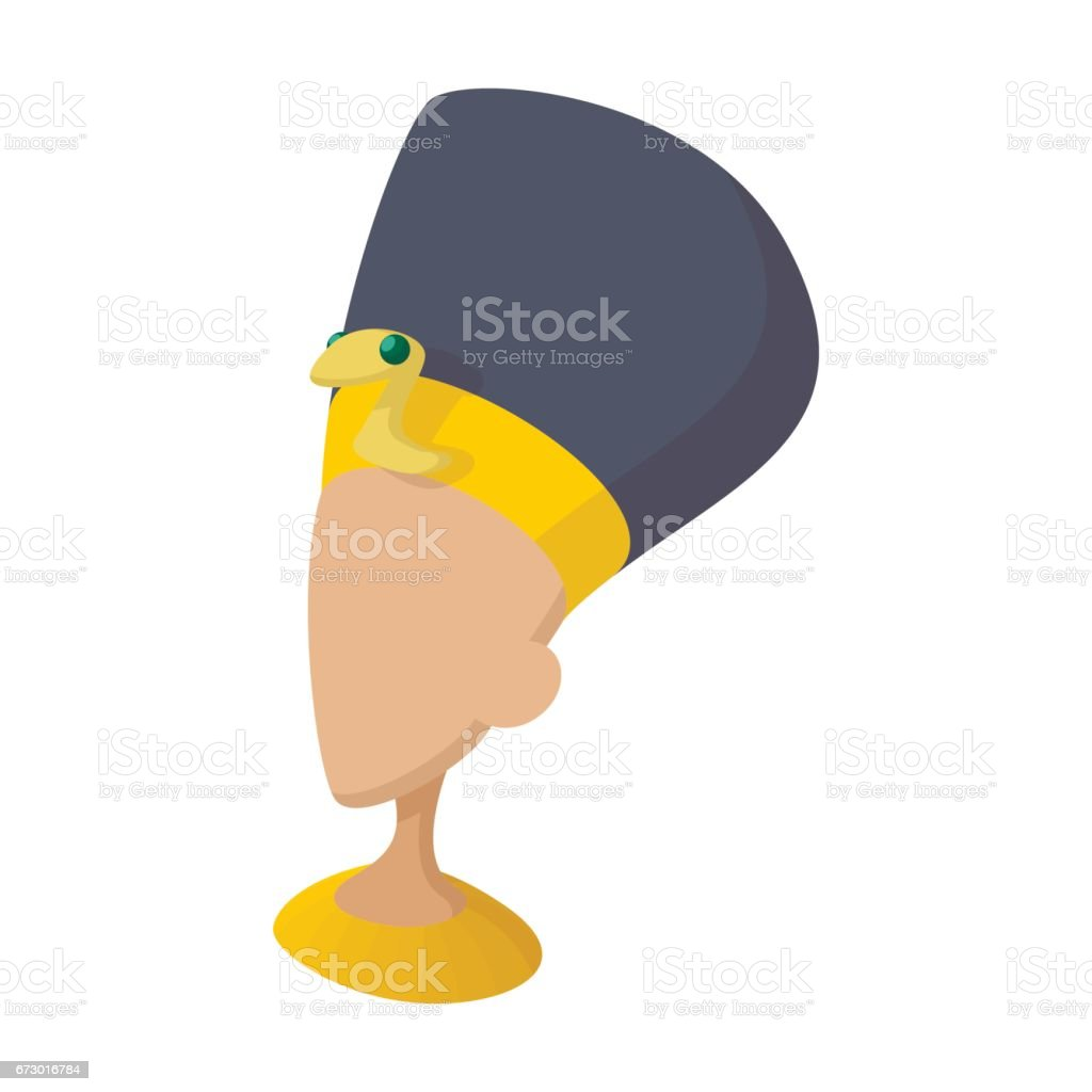 Head of Nefertiti icon, cartoon style vector art illustration