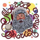 Head of Santa Claus with the words Merry Christmas