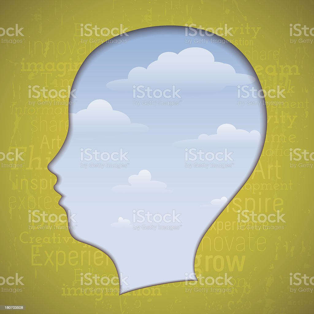Head on the clouds royalty-free stock vector art