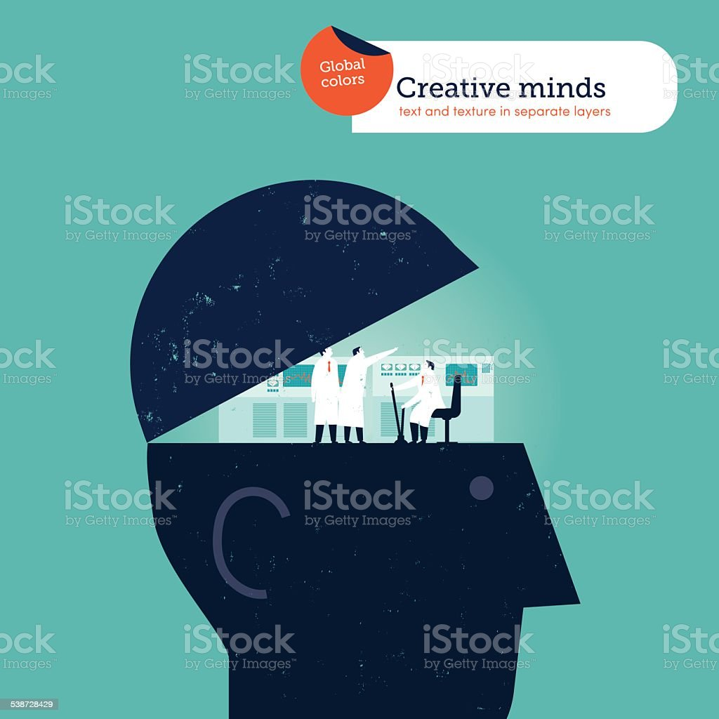 Head opening with scientists and computers in the brain vector art illustration