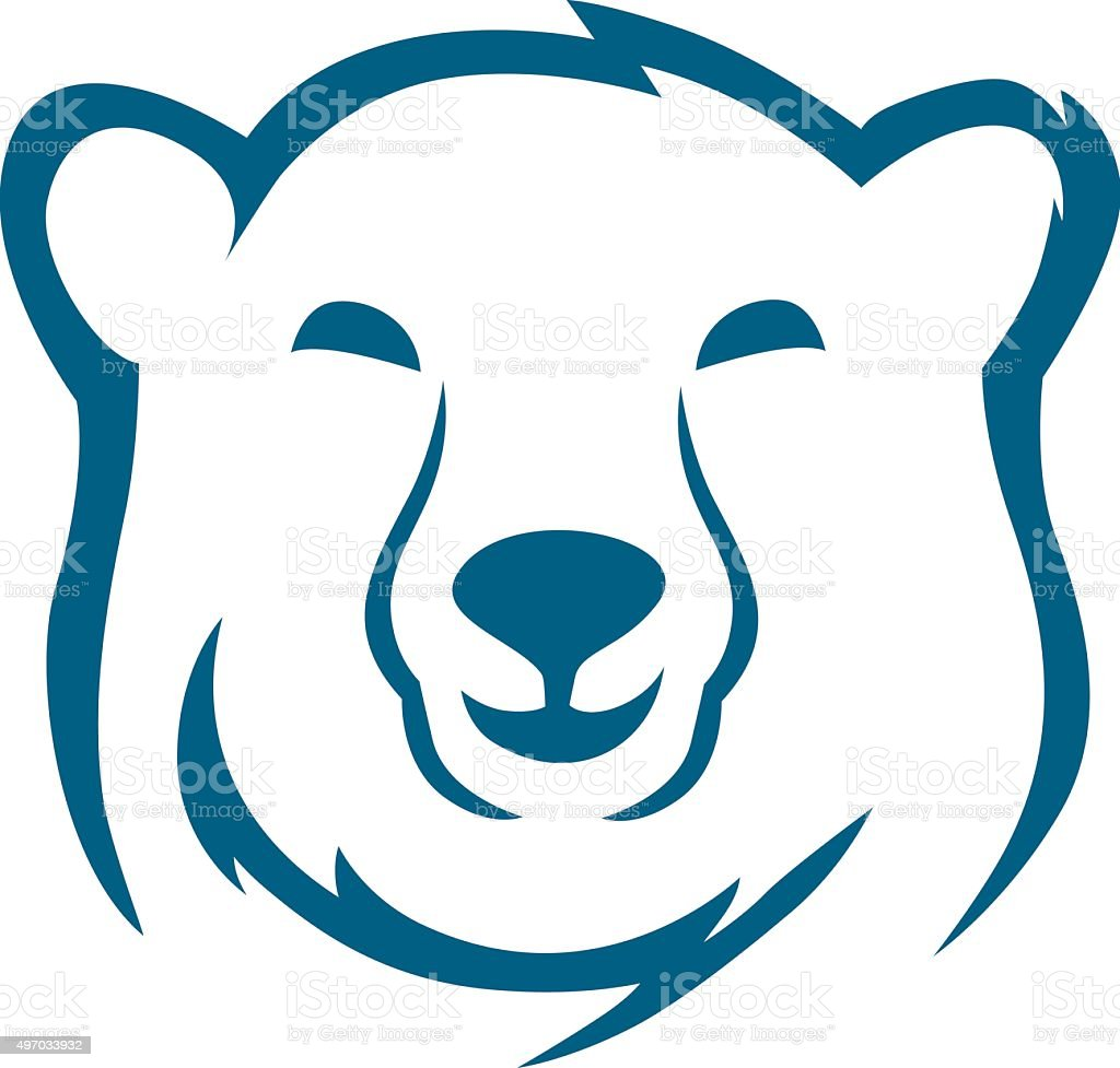 Head polar bear sketch vector art illustration