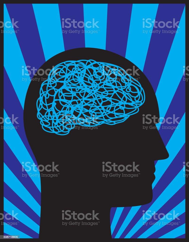 Head Profile Mental Block vector art illustration