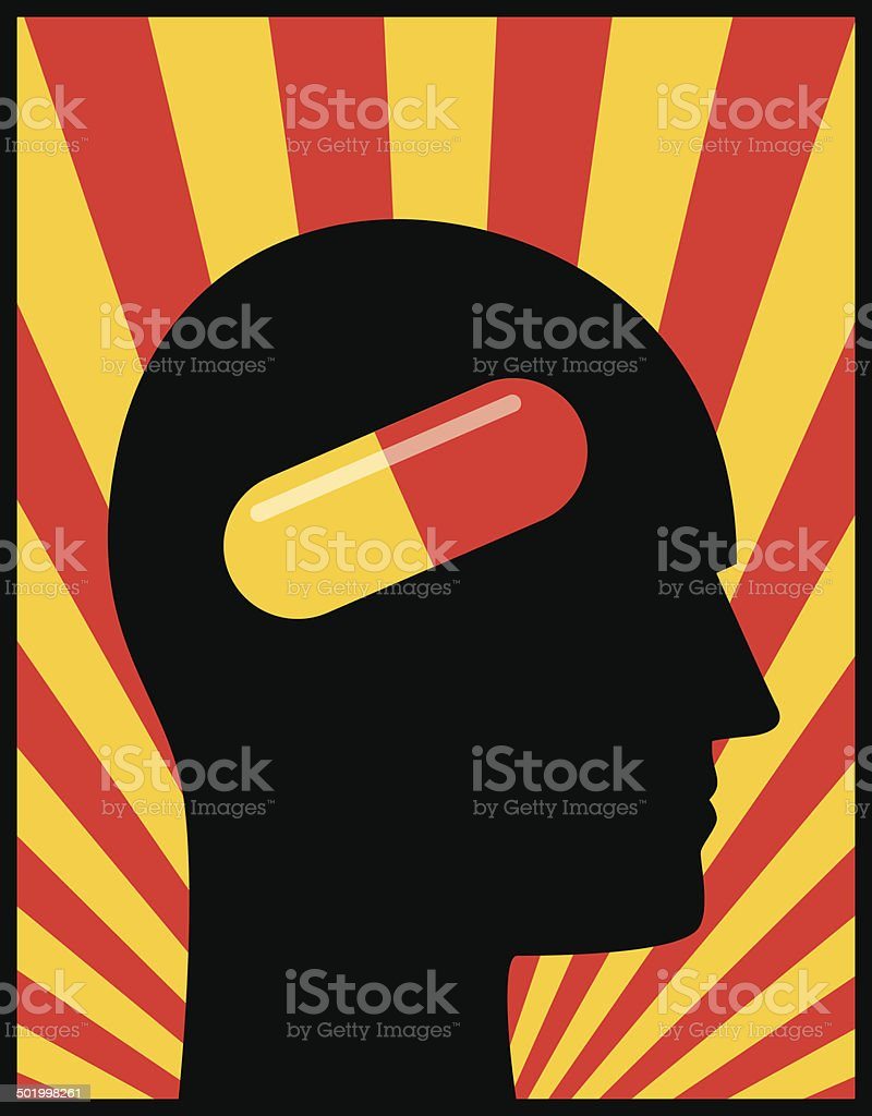 Head Profile Pill royalty-free stock vector art