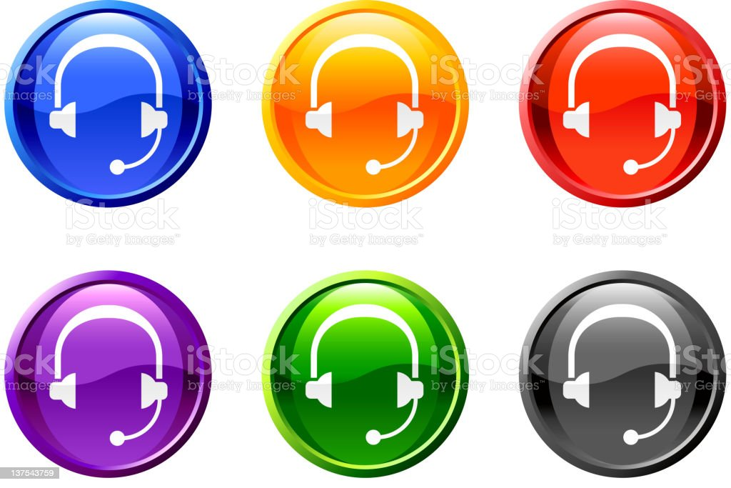 head set button royalty free vector art royalty-free stock vector art