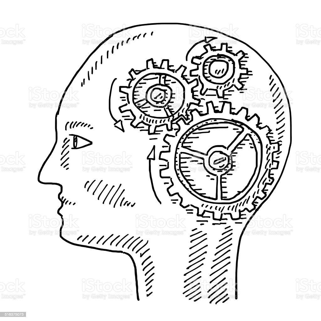 Vista lateral del cerebro de engranajes de dibujo for The craft of research audiobook
