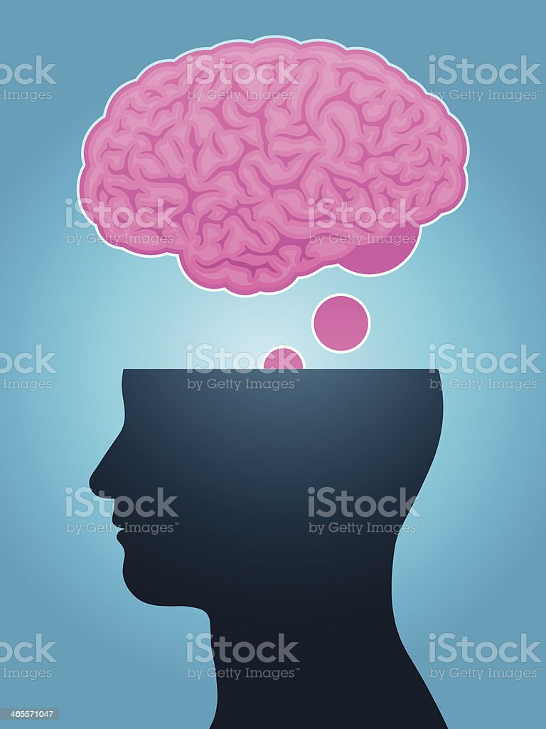 head silhouette brain thought royalty-free stock vector art